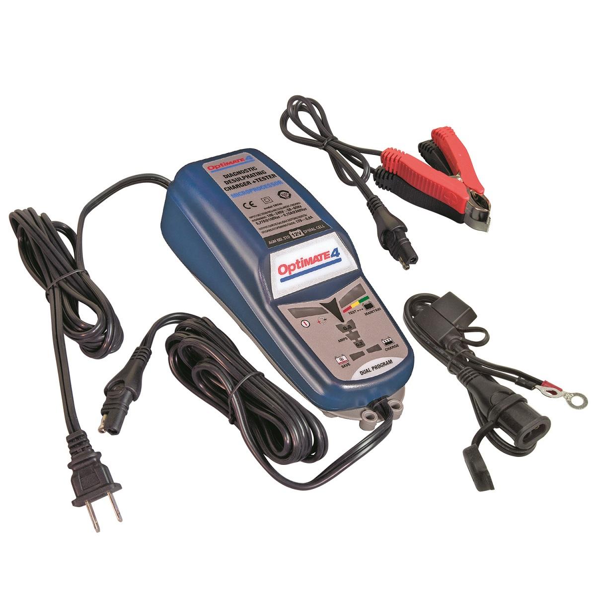 Зарядное устройство OptiMate 4. TM240TM240Многоступенчатое зарядное устройство Optimate от бельгийской компании TecMate с режимами тестирования, восстановления глубокоразряженных аккумуляторных батарей, десульфатации и хранения. Управление полностью автоматическое без кнопок. Заряжает все типы 12В свинцово-кислотных аккумуляторных батарей, в т.ч. AGM, GEL. Защита от короткого замыкания, переполюсовки, искрообразования, перегрева. Оптимизирует срок службы и здоровье аккумуляторной батареи. Гарантия 3 года. Влагозащищенный корпус. Рекомендовано 10-ю ведущими производителями мототехники. Optimate 4 рекомендуется для АКБ от 2Ач до 50 Ач. (75Ач в режиме длительного обслуживания). Ток зарядки 0,2-0,8А. Старт заряда АКБ от 0,5В. Температурный режим -40...+40С. Optimate 4 может заряжать аккумуляторную батарею вашего мотоцикла через Can-bus шину (требуется аксессуар O2). В комплект устройства входят аксессуары O1 кольцевой разъем постоянного подключения и O4 зажимы типа крокодил.