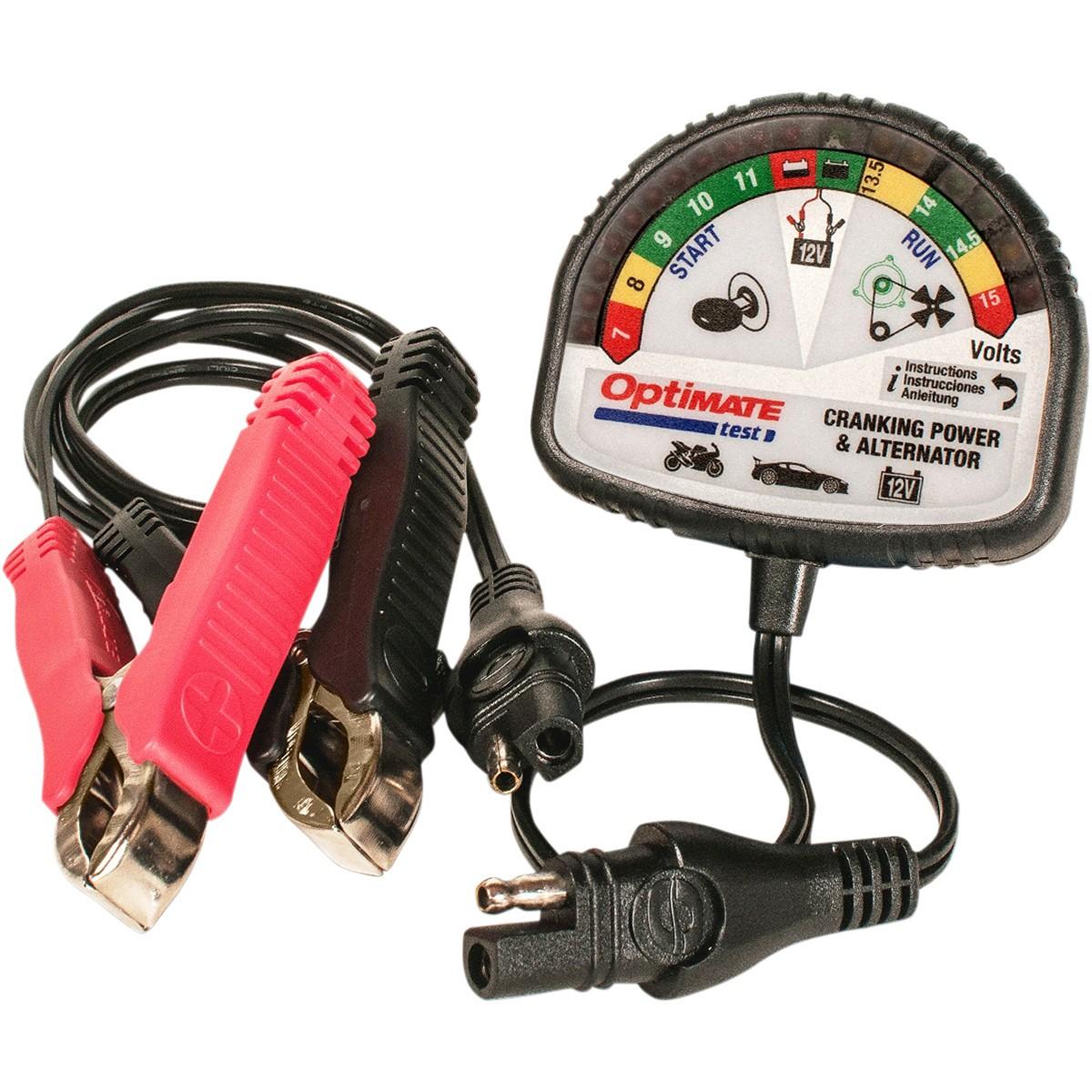 Тестер аккумуляторных батарей OptiMate Test. TS120TS120Простейшее и информативное устройство для проверки работоспособности аккумуляторных батарей и генератора на любом транспортном средстве: автомобилях, мотоциклах, скутерах и т.д.