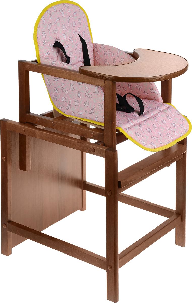 Топотушки Стульчик для кормления Крепыш цвет розовый4650070980885Практичный, многофункциональный стульчик Крепыш идеально подойдет как для кормления, так и для творческих занятий малыша с 6 месяцев и до пяти лет. Можно использовать как низкий стул со столиком, так и как высокий стульчик для кормления, для этого установите маленький стульчик в столик. Стул выполнен из натурального дерева с минимальной фурнитурой. Столешница широкая, овальная. Обивка стула мягкая, изготовлена из бязи, на ней вашему малышу будет очень комфортно сидеть. Столешница имеет два положения, в зависимости от стадии роста ребёнка, для этого на стуле имеются 2 комплекта резьбовых втулок. Удобный съемный моющийся чехол. Ремни безопасности надежно крепятся на спинке стула.