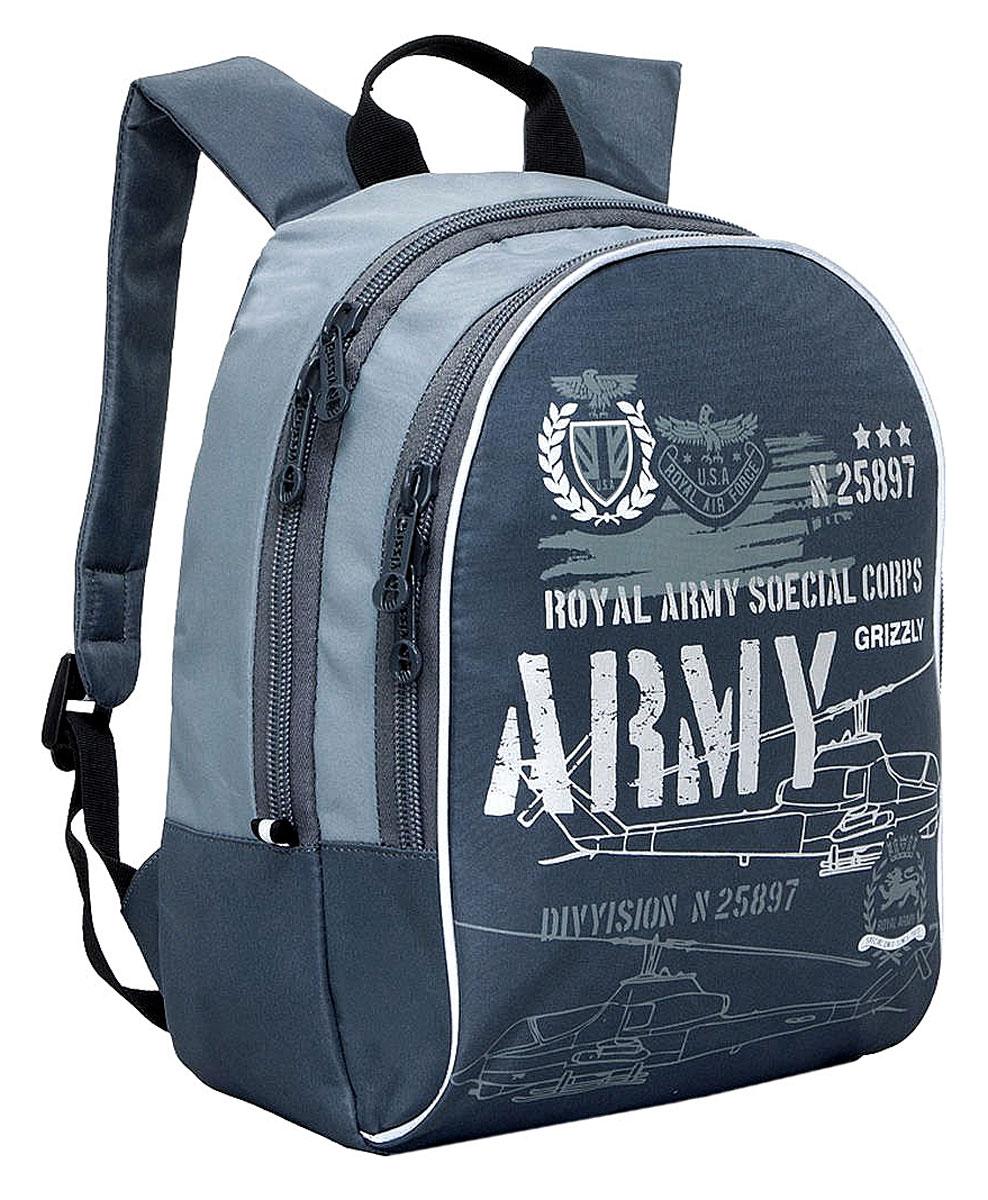 Grizzly Рюкзак детский Army цвет серыйRB-628-3/3Школьный рюкзак Grizzly - это красивый и удобный рюкзак, который подойдет всем, кто хочет разнообразить свои школьные будни. Рюкзак выполнен из плотного материала и оформлен принтом в армейской тематике. Рюкзак имеет два основных отделения на молнии. Большое отделение содержит внутри открытый накладной карман. Внутри второго отделения имеется накладной открытый карман и три открытых кармашка под канцелярские принадлежности. Бегунки застежки-молнии дополнены удобными держателями с логотипом Grizzly. Рюкзак также оснащен удобной ручкой для переноски и светоотражающими элементами. Широкие лямки можно регулировать по длине. Многофункциональный детский рюкзак станет незаменимым спутником вашего ребенка.