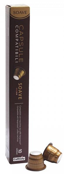Caffitaly Capsule Compatibili Soave кофе в капсулах, 10 шт8032680751325Кофе Caffitaly Capsule Compatibili специально разработан для системы Nespresso. Кофе Caffitaly Capsule Compatibili Soave – натуральный молотый кофе в капсулах. Содержит cмесь из 100% Арабики с приятным и хорошо сбалансированным богатым вкусом. Идеальное сочетание ароматов кофе из Центральной и Южной Америки. Преимущества кофе Caffitaly Capsule Compatibili: Компактная упаковка; Специально разработанная конструкция позволяет легко вставлять капсулу в кофемашину без каких-либо усилий, что позволяет избежать выхода машины из строя; Задняя часть капсулы сделана из плотной фольги, таким образом капсула всегда прокалывается и исключается поломка режущего элемента кофемашины при прокалывании, как это бывает в капсулах с плотной пластмассовой стенкой. Капсулы хватает для приготовления двойной дозы напитка (200 мг). Крепость: 3/5 Стандарт капсул: Nespresso Страна производства: Италия