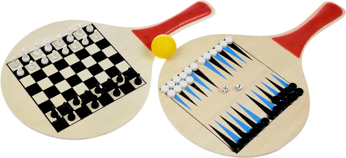 Набор игровой 3в1 King Sport: пляжный теннис, шахматы, нарды28263530Игровой набор 3в1 King Sport - это сразу 3 игры: шахматы, шашки и пляжный теннис. В набор входят шахматные фигуры, фишки для нард и шашек, 2 ракетки с полями для игр в нарды и шашки, 2 кубика, мяч. Ракетки выполнены из дерева, мяч из поливинилхлорида, шахматные фигуры и фишки из пластика. Такой набор станет замечательным подарком к любому случаю. Качество, дизайн и функциональность сделают его желанным для каждого. Комплект поставляется в чехле из ПВХ, что обеспечивает удобство и комфорт во время хранения и транспортировки. Размер игрового поля для игры в нарды/шахматы/шашки: 15,5 х 15,5 см. Диаметр шашки: 1,2 см. Высота короля: 2,7 см. Размер ракеток: 38 х 23 см. Толщина ракеток: 6 мм. Диаметр мяча: 4 см.