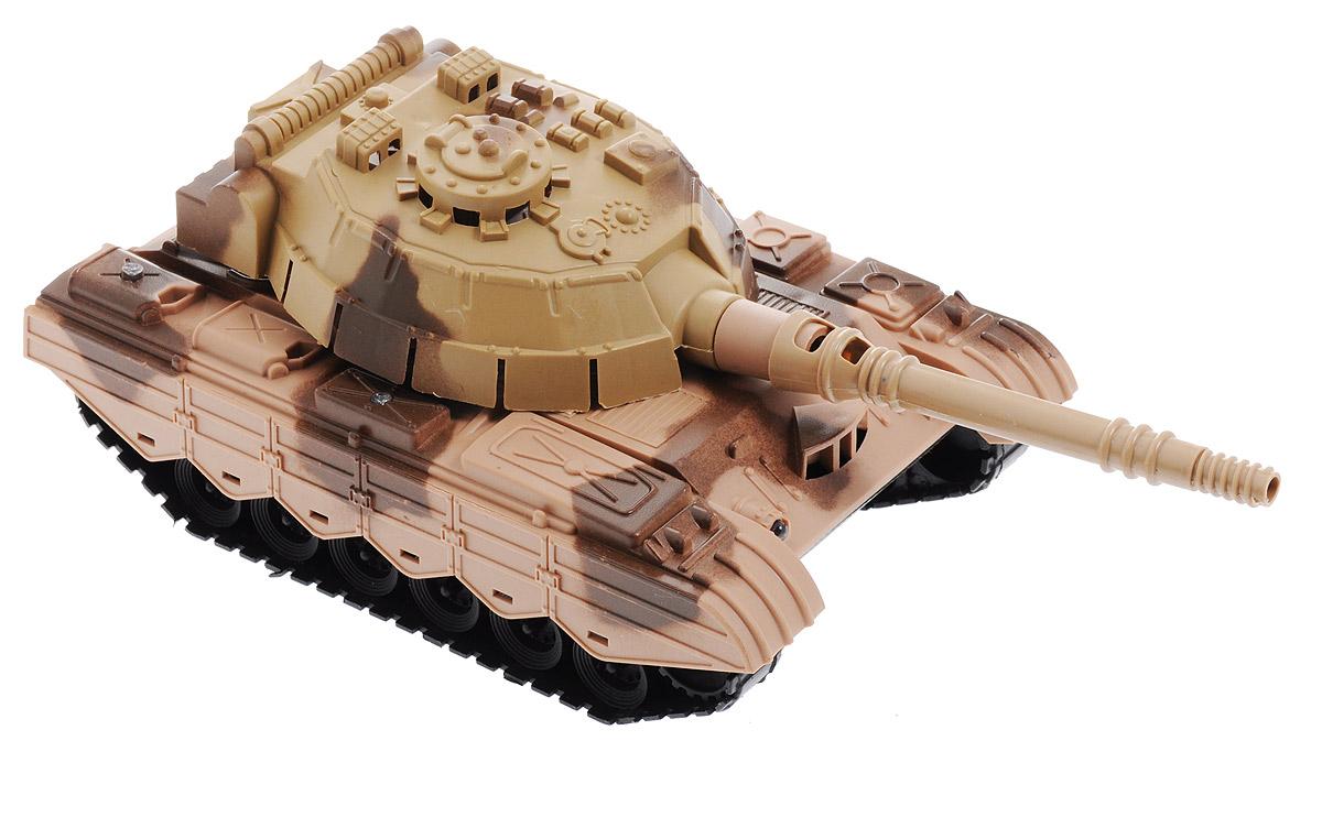 Zhorya Танк Восточный фронт цвет светло-коричневый коричневыйХ75205_светло-коричневый, коричневыйТанк Восточный фронт представляет собой точную копию настоящей боевой машины. Модель, выпущенная компанией по производству игрушек Zhorya, изготовлена из высококачественного прочного пластика и оснащена световыми и звуковыми эффектами, что сделает игровой процесс еще более захватывающим. Игрушка может вращаться вокруг своей оси, двигаться в различных направлениях. Движение сопровождается миганием многочисленных разноцветных огоньков на корпусе танка и даже в стволе его пушки. При движении слышны звуки стрельбы, команды офицеров и шум работающего мотора. Этот танк разнообразит игровые ситуации, откроет новые сюжеты для сражений, поможет развить мелкую моторику рук. Не упустите шанс порадовать своего малыша замечательным подарком! Для работы игрушки необходимы 3 батарейки типа АА (не входят в комплект).