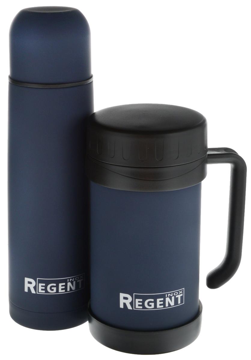 Набор Regent Inox Bullet, цвет: темно-синий, 2 предмета93-TE-B-S-02Набор Regent Inox Bullet состоит из термоса и термокружки. Термос Regent Inox Bullet изготовлен из высококачественной пищевой нержавеющей стали, что обеспечивает высокую надежность и долговечность. Современная технология с вакуумной изоляцией и металлическая колба, способствуют более длительному сохранению тепла. Через 12 часов температура жидкости в термосе станет равна 35-45°С при условии, что температура окружающей среды не ниже 18°С, а температура жидкости при заполнении не ниже +99°С. Regent Inox Bullet оснащен пластиковой пробкой с удобным кнопочным механизмом - напитки можно наливать, открутив крышку и нажав на кнопку, а крышку можно использовать как чашку. Термокружка Regent Inox Bullet изготовлена из высококачественной пищевой нержавеющей стали, что обеспечивает высокую надежность и долговечность. Современная технология с вакуумной изоляцией и металлическая колба, способствуют более длительному сохранению тепла. Емкость легко закрывается крышкой, которая...