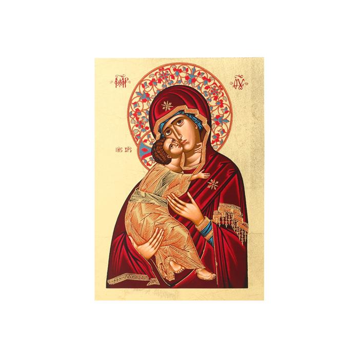 Икона Артола Владимирская, 18 см х 25 см х 2 смIR-SBV-P3Православная каноничная икона. Современная оригинальная интерпретация. Афинская иконописная школа. Метод нанесения образа на полотно - полноцветная многослойная шелкография. Золотой фон - поталь. Деревянная основа (мдф + шпон) имеет отверстие для крепления.