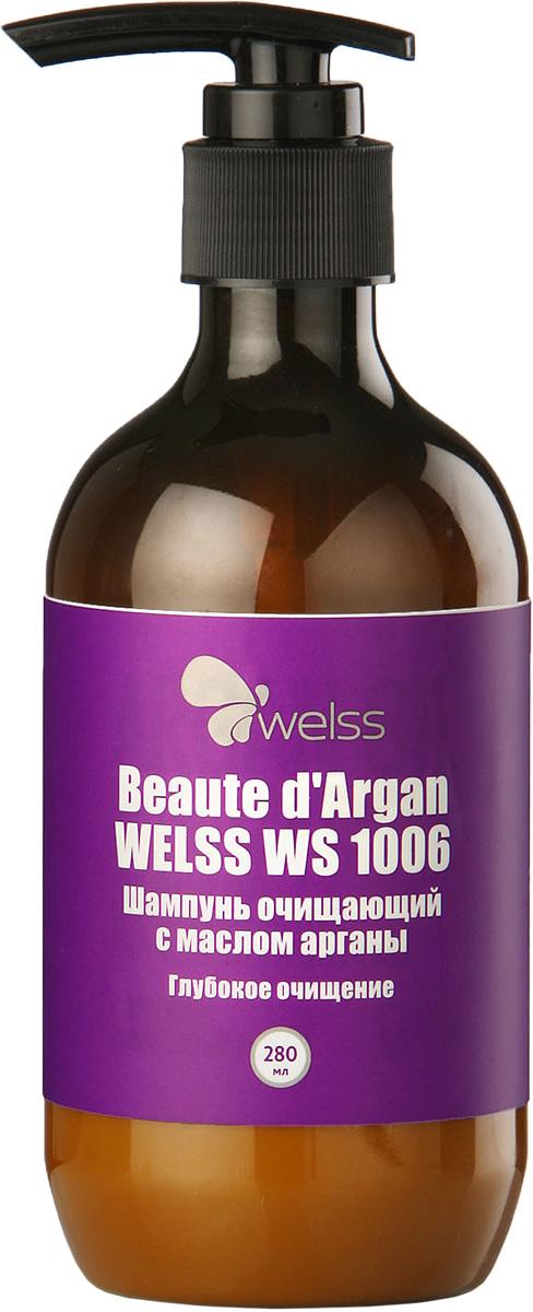 Шампунь очищающий с маслом арганы Beaute d`Argan WELSS WS 1006, 280млWS 1006Комбинация очищающих агентов, разработанная специалистами компании WELSS, глубоко очищает кожу головы и волосы по всей длине. Шампунь удаляет остатки укладочных средств и хлора, помогает регулировать баланс влажности, максимально подготавливает волосы к окрашиванию и химической завивке.