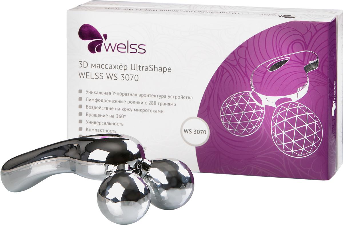 3D массажер UltraShape WELSS WS 3070WS 3070Роликовый массажер Стройный силуэт.Этот 3D массажер со специально разработанными лимфодренажными роликами поможет Вам в создании своего силуэта, ролики легко вращаются на 360 градусов, создавая при этом щипковый эффект, применяемый профессиональными массажистами. Меняя угол наклона Вы можете усилить этот эффект или сделать его более мягким. Улучшается кровоток, лимфоток, разбиваются лишние жировые накопления в подкожном слое, выводится лишняя жидкость из организма, появляется тонус во всем организме.Применяя этот массажер ежедневно вы увидите желаемый результат в кратчайшие сроки. Y-образная архитектура устройства, лимфодренажные ролики с 288 гранями, вращение на 360о дают возможность ежедневно в домашних условиях проводить любые процедуры от расслабляющего массажа до серьезных лифтинг-процедур.