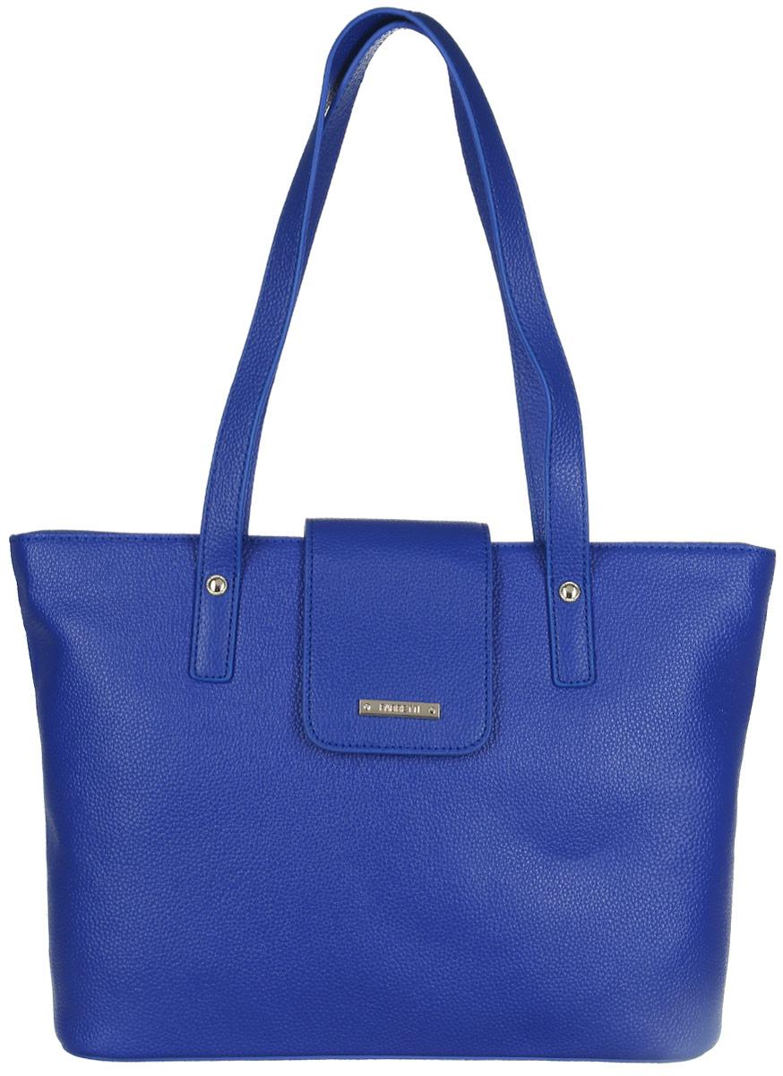 Сумка женская Fabretti, цвет: синий. N2561N2561-blueСтильная женская сумка Fabretti выполнена из натуральной кожи зернистой фактуры и оформлена металлической фурнитурой с символикой бренда. Изделие состоит из одного отделения, закрывающегося на застежку-молнию и дополнительно небольшим клапаном на магнитную кнопку. Отделение содержит карман-средник на молнии, два нашивных кармана для телефона и мелочей, два врезных кармана на молниях. На тыльной стороне расположен врезной карман на молнии. Сумка оснащена двумя удобными ручками, высота которых позволяет носить ее в руке, на запястье или на плече. Дно сумки дополнено металлическими ножками, защищающими ее от механических повреждений. Прилагается фирменный текстильный чехол для хранения изделия. Сумка Fabretti внесет элегантные нотки в ваш образ и подчеркнет ваше отменное чувство стиля.