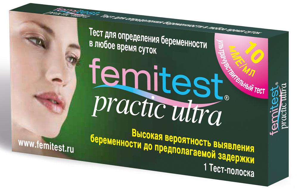 Femitest Тест для определения беременности Practic Ultra, 1 шт93106Уникальная ультрачувствительная тест-полоска Femitest Practic Ultra для определения беременности. Благодаря очень высокой чувствительности дает высокую вероятность выявления беременности до предполагаемой задержки (через 7-10 дней после вероятного зачатия). Чувствительность 10 мМЕ/мл. Точность - более 99,5%.