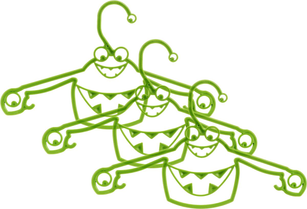 Набор вешалок Пластишка, с крючками, цвет: зеленый, 3 штС13024Набор Пластишка, изготовленный из прочного полипропилена, состоит из 3 детских вешалок для одежды с закругленными плечиками. Изделия оснащены крючками. Вешалка - это незаменимая вещь для того, чтобы ваша одежда всегда оставалась в хорошем состоянии. Комплектация: 3 шт.