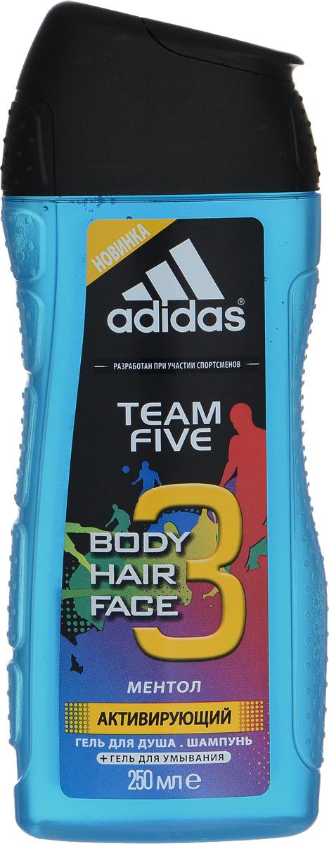 Adidas Гель для душа для тела и волос Team Five Hair&Body Shower Gel, мужской, 250 мл34001073511/3607343839273/3607343839280Для лица, волос, тела.