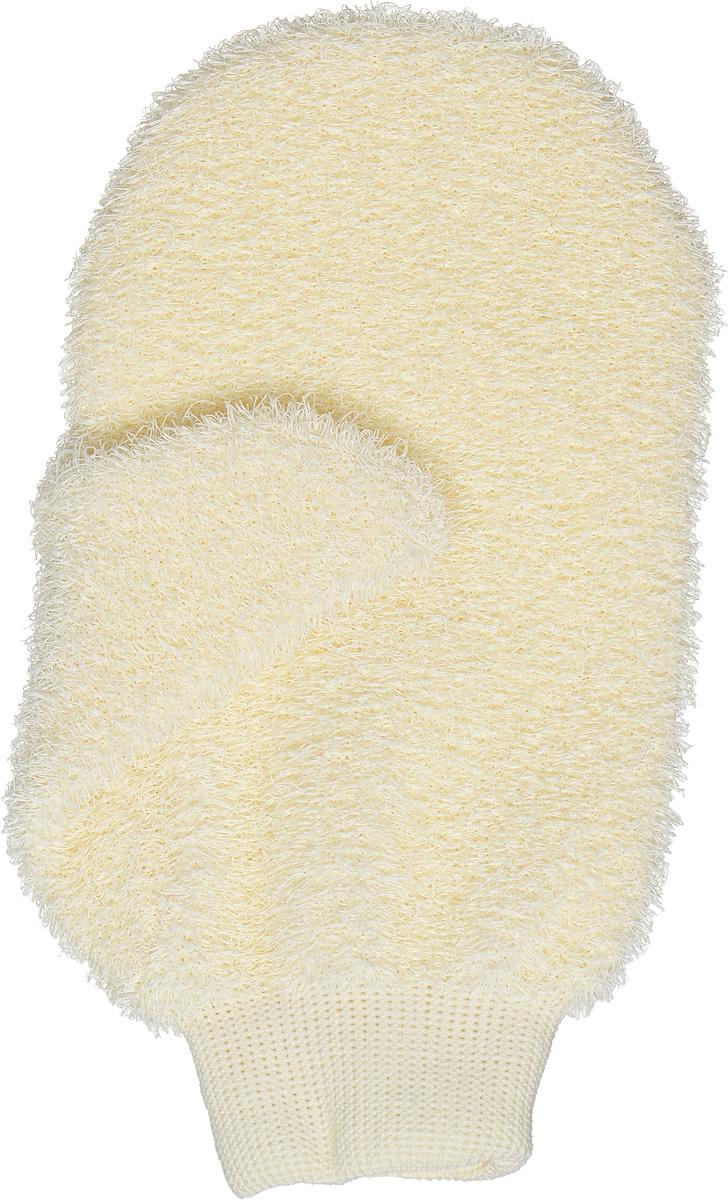 Riffi Мочалка-рукавица массажная, жесткая, цвет: молочный