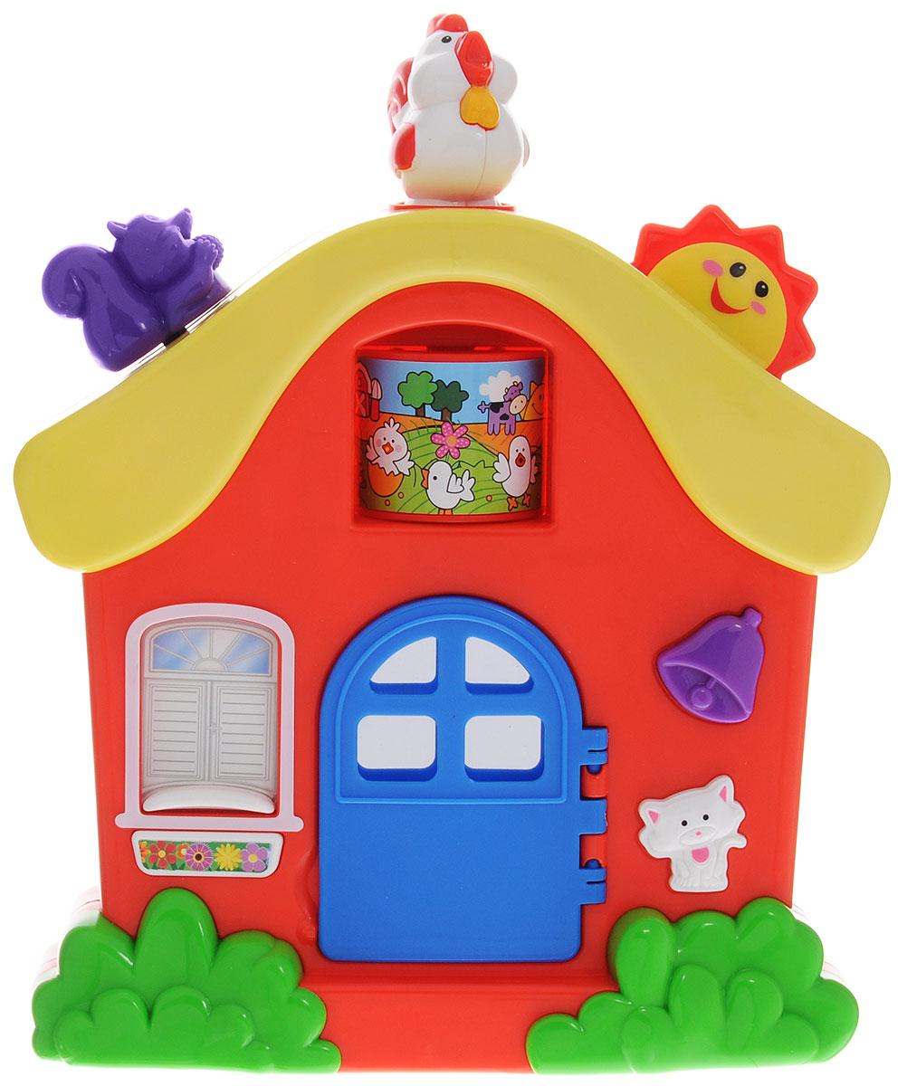 Kiddieland Развивающая игрушка ДомикKID 051466Развивающая игрушка Kiddieland Домик - это яркая, красочная игрушка в виде домика, которая развлечет малыша веселой музыкой и звуками, и познакомит с интересной компанией зверюшек. Если открыть дверь домика, то раздастся звук открывающейся двери. За дверью находится безопасное зеркальце. При нажатии на колокольчик зазвучит звонок. Кнопка в виде котенка включает звук мяуканья. Шторка окошка, из которого выглядывает забавный щенок, опускается. Чтобы поднять шторку, необходимо нажать на кнопку под окном. Шторка моментально поднимется вверх и заиграет веселая мелодия. На крыше домика располагается колесико в виде солнышка, прокрутив которое, можно послушать чириканье птичек и музыку. При поворачивании фигурки петушка раздается громкий петушиный крик, заиграет мелодия. Одновременно под крышей вращается барабан с картинкой. Фигурка белочки двигается вверх и вниз с характерным щелкающим звуком. Игрушка способствует развитию мелкой моторики, слухового и ...
