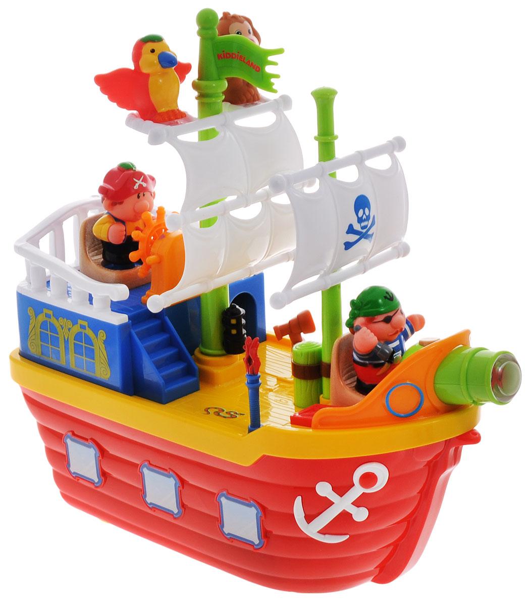 Kiddieland Развивающая игрушка Пиратский корабльKID 038075Яркая развивающая игрушка Kiddieland Пиратский корабль обязательно порадует малыша приятными мелодиями, забавными звуками и мигающими огоньками. Восхитительный корабль с множеством игровых функций, светом, музыкой и съемными персонажами! Вращайте штурвал, чтобы услышать шум волн, звук колокола и приятные мелодии, или нажмите на кнопку на пушке, чтобы услышать звук выстрела. Корабль раскрывается на две части, представляя взору ребенка внутреннее содержимое. Внутри корабля спальный отсек, кладовка с продуктами, и, конечно же, пиратские сокровища! На корабле можно установить специальные фигурки - двух пиратов, обезьянку и попугая. Кроме этого, на палубе живет мышка, установлены факелы, подвижная подзорная труба и две звуковые кнопки в виде люка и каната. Игрушка оборудована колесиками для катания! На носу корабля предусмотрена дырочка, за которую можно будет привязать веревочку и катать игрушку по полу. Игрушка способствует развитию мелкой моторики, слухового и...
