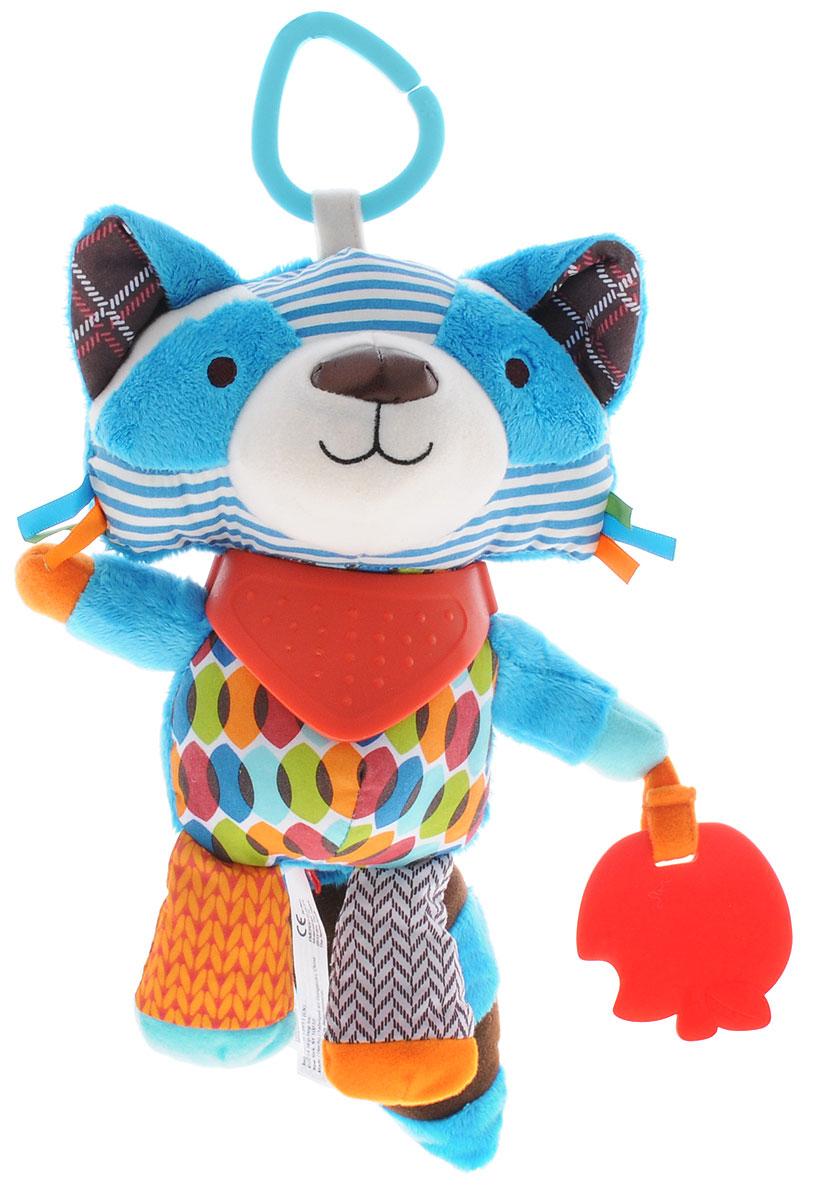 Skip Hop Развивающая игрушка-подвеска ЕнотSH 306209Подвесную игрушку Skip Hop Енот можно взять с собой на прогулку в парк, она не даст заскучать и успокоит вашего малыша, если его что-то расстроит. Игрушка выполнена из разнофактурных материалов в виде забавного енота. Ушки енота шелестят при сминании. Внутри игрушки имеется погремушка; также игрушка оснащена прорезывателями в виде фартука и яблока. За счет разнообразной фактуры забавные зверюшки от Skip Hop помогут в тактильном развитии вашему малышу, станут хорошими друзьями и всегда поднимут настроение. Игрушка легко крепится к любой коляске или кроватке с помощью большого пластикового крепления. Развивающая игрушка-подвеска Skip Hop Енот поможет малышу в развитии тактильной чувствительности, слухового и цветового восприятия, моторики. Игрушка не содержит бисфенол А, поливинилхлорид и фталаты.