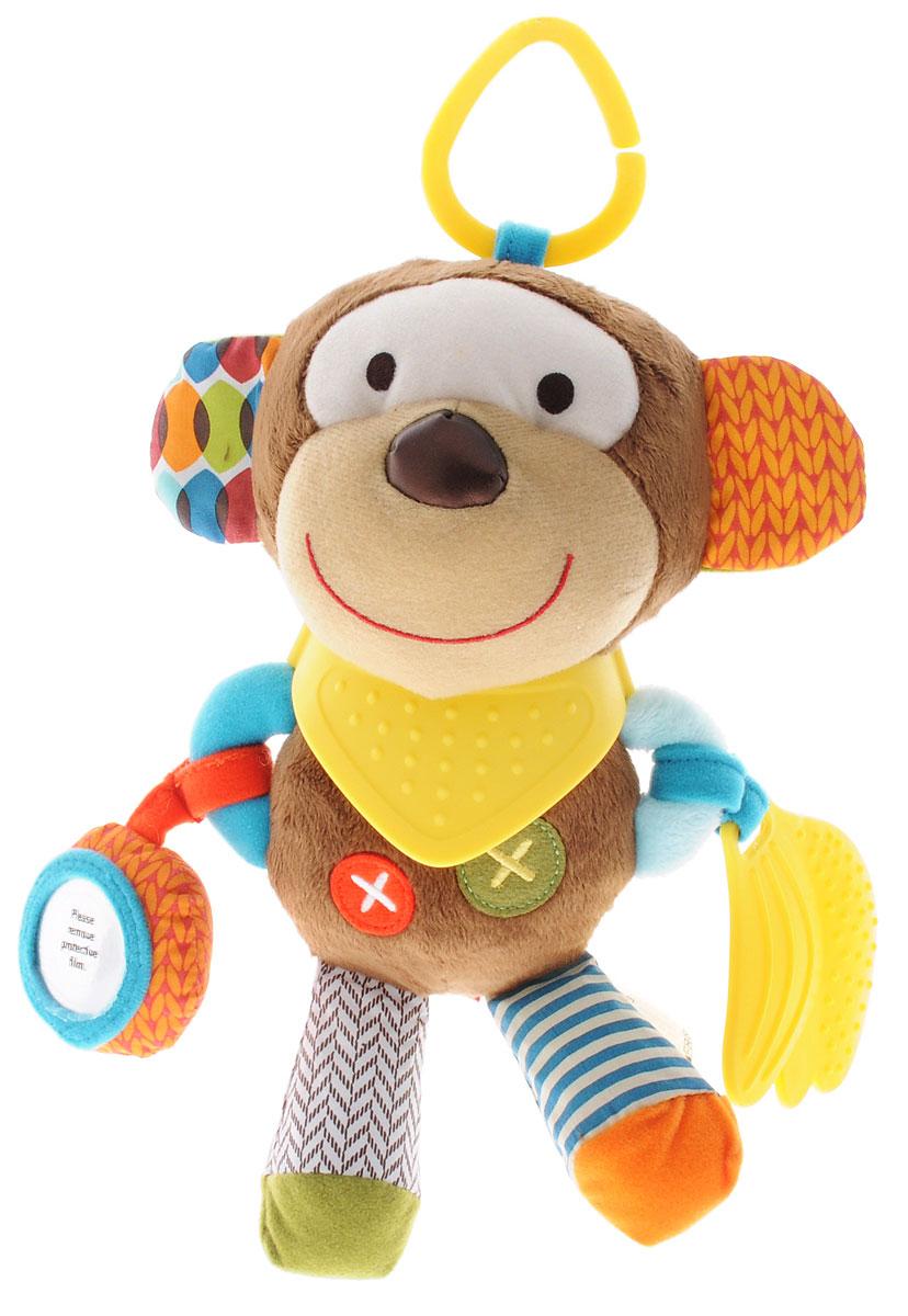 Skip Hop Развивающая игрушка-подвеска ОбезьянаSH 306201Подвесную игрушку Skip Hop Обезьяна можно взять с собой на прогулку в парк, она не даст заскучать и успокоит вашего малыша, если его что-то расстроит. Игрушка выполнена из разнофактурных материалов в виде забавной обезьянки. Ушки и задние лапки обезьянки шелестят при сминании. Внутри обезьянки имеется погремушка; также игрушка оснащена безопасным зеркальцем и мягкими прорезывателями в виде фартука и связки бананов. За счет разнообразной фактуры забавные зверюшки от Skip Hop помогут в тактильном развитии вашему малышу, станут хорошими друзьями и всегда поднимут настроение. Игрушка легко крепится к любой коляске или кроватке с помощью большого пластикового кольца. Развивающая игрушка-подвеска Skip Hop Обезьяна поможет малышу в развитии тактильной чувствительности, слухового и цветового восприятия, моторики. Игрушка не содержит бисфенол А, поливинилхлорид и фталаты.