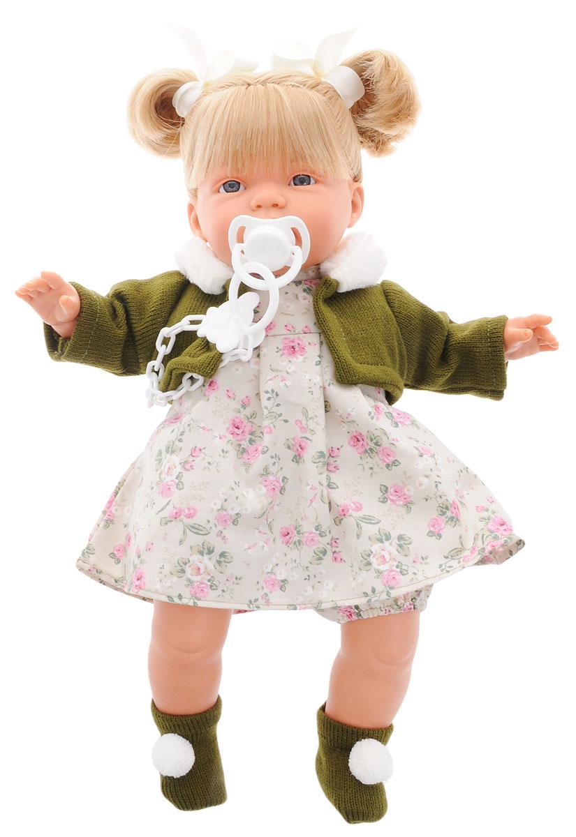 Llorens Пупс ЖоэльL 38294Пупс LIorens Жоэль выглядит и ведет себя как настоящий ребенок. У Кэрол белокурые волосы и неземной красоты глаза. Кукла одета в шортики, платьице и теплую кофточку. На ногах у нее носочки с помпонами, а на голове два забавных хвостика. В комплект входит соска на пластиковой цепочке. Если вынуть ее изо рта, малышка начинает плакать и говорить: Мама, папа!. Достаточно снова дать соску Жоэль, и она тут же успокоится. У пупса мягконабивное тело. Подвижные голова, ножки и ручки выполнены из ПВХ. Игра с куклой разовьет в вашей малышке фантазию и любознательность, поможет овладеть навыками общения, научит ролевым играм, воспитает чувство ответственности и заботы. Порадуйте ее таким замечательным подарком! Рекомендуется докупить 3 батарейки напряжением 1,5V типа AG13/LR44 (товар комплектуется демонстрационными).