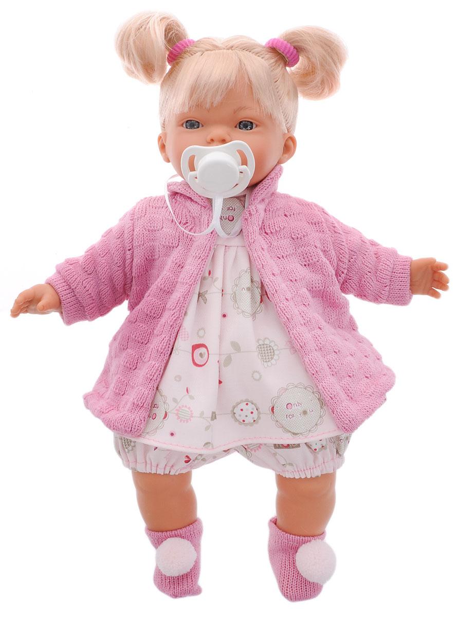 Llorens Пупс КэролL 33256Пупс LIorens Кэрол выглядит и ведет себя как настоящий ребенок. У Кэрол белокурые волосы и неземной красоты глаза. Кукла одета в шортики, платьице и теплую кофточку. На ногах у нее носочки с помпонами, а на голове два забавных хвостика. В комплект входит соска на веревочке. У пупса мягконабивное тело. Подвижные голова, ножки и ручки выполнены из ПВХ. Игра с куклой разовьет в вашей малышке фантазию и любознательность, поможет овладеть навыками общения, научит ролевым играм, воспитает чувство ответственности и заботы. Порадуйте ее таким замечательным подарком!