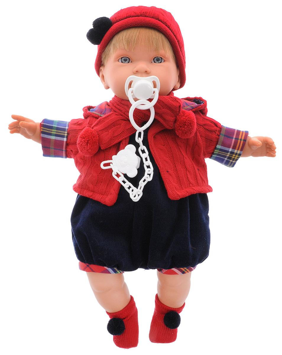 Llorens Пупс МигуэльL 42117Пупс LIorens Мигуэль выглядит и ведет себя как настоящий ребенок. У Мигуэля светлые волосы и серьезное личико. Пупс одет в комбинезон и теплую кофточку с капюшоном. На ногах у него красные носочки, а на голове шапочка с помпонами. В комплект входит соска на пластиковой цепочке. Если вынуть ее изо рта, малыш начинает плакать и говорить: Мама, папа!. Достаточно снова дать соску Мигуэлю, и он тут же успокоится. У пупса мягконабивное тело. Подвижные голова, ножки и ручки выполнены из ПВХ. Игра с куклой разовьет в вашей малышке фантазию и любознательность, поможет овладеть навыками общения, научит ролевым играм, воспитает чувство ответственности и заботы. Порадуйте ее таким замечательным подарком! Рекомендуется докупить 3 батарейки напряжением 1,5V типа AG13/LR44 (товар комплектуется демонстрационными).