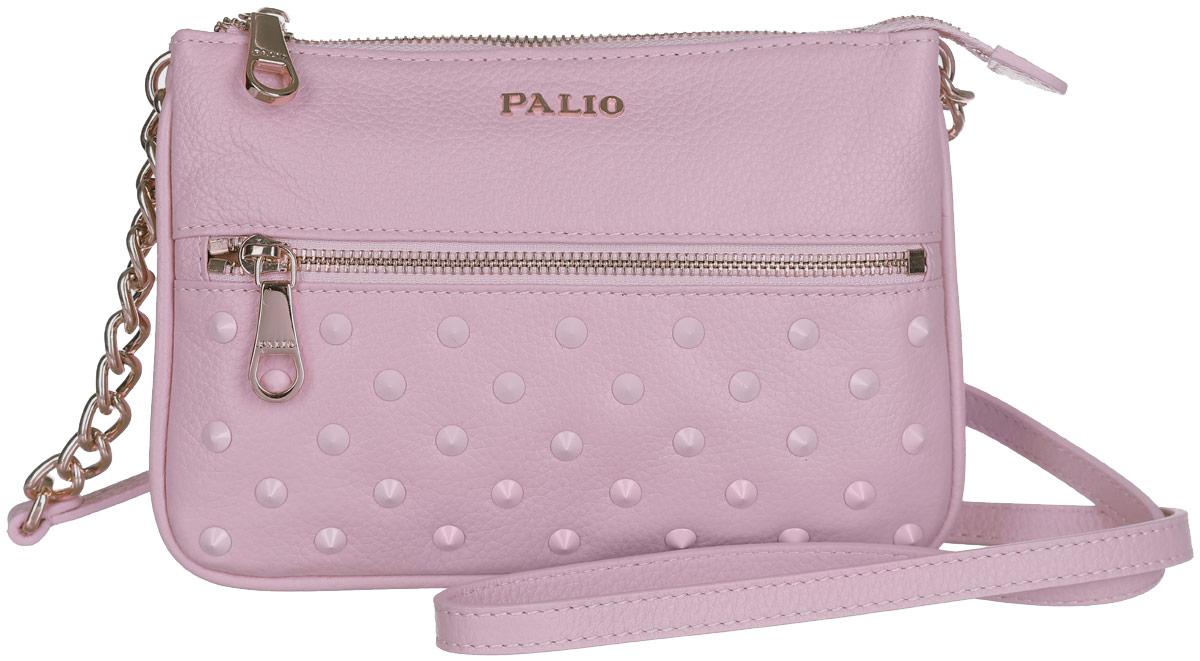 Сумка женская Palio, цвет: светло-розовый. 13755A-32213755A-322Стильная женская сумка Palio выполнена из натуральной кожи зернистой фактуры, оформлена декоративными металлическими шипами и символикой бренда. Изделие содержит одно отделение, разделенное на две части перегородкой, которое закрывается на застежку-молнию. Внутри расположены один накладной кармашек для мелочей и один врезной карман на молнии. Снаружи, на лицевой и тыльной сторонах сумки, расположены врезные карманы на застежках-молниях. Сумка оснащена несъемным плечевым ремнем, регулируемым по длине. Ремень у основания декорирован металлическими цепочками. Прилагается фирменный текстильный чехол для хранения изделия. Оригинальный аксессуар позволит вам завершить образ и быть неотразимой.