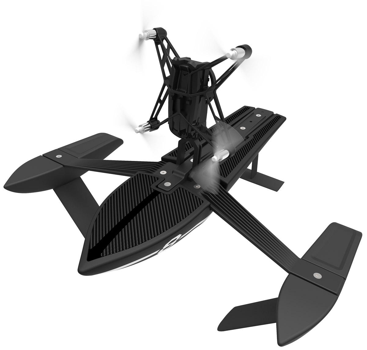 Parrot Квадрокоптер на радиоуправлении Minidrone Hydrofoil Orak и корабль HydrofoilPF723403Parrot Minidrone Hydrofoil Orak - летающее радиоуправляемое устройство с четырьмя бесколлекторными двигателями и встроенной камерой. Невероятная акробатика Одно движение руки - и ваш квадрокоптер послушно выполняет повороты на 90 и 180 градусов, крутит мёртвые петли назад и вперёд. Он сконструирован с соблюдением правил безопасности: в случае аварии питание пропеллеров отключится. Создайте своего уникального робота Вы можете изменить внешний вид мини-дрона по своему вкусу с помощью наклеек. Водный режим Водоплавающая конструкция подпирает дрон на 5 - 6 сантиметров над водой сбалансированным образом. Вместе с ней, квадрокоптер способен развивать скорость до 10 км/ч в водном пространстве. Благодаря проработанной системе стабилизации и автопилоту квадрокоптером можно легко управлять через сенсорный интерфейс в приложении FreeFlight 3. Встроенная память: 1 ГБ (для записи видео) Разрешение видео:...