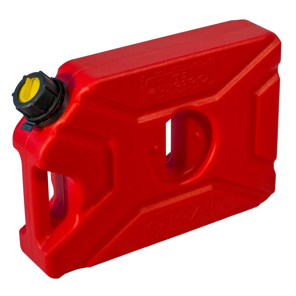 Канистра экспедиционная GKA, цвет: красный, 5 лGKA05RКанистра экспедиционная плоская 5 литров GKA. Изготавливаются из высокопрочных полимеров. Предназначена для любого вида топлива и воды. Укомплектованы гибким носиком для розлива жидкостей. Уплотнитель и антивибрационная система крышки не позволяет жидкости расплескиваться.