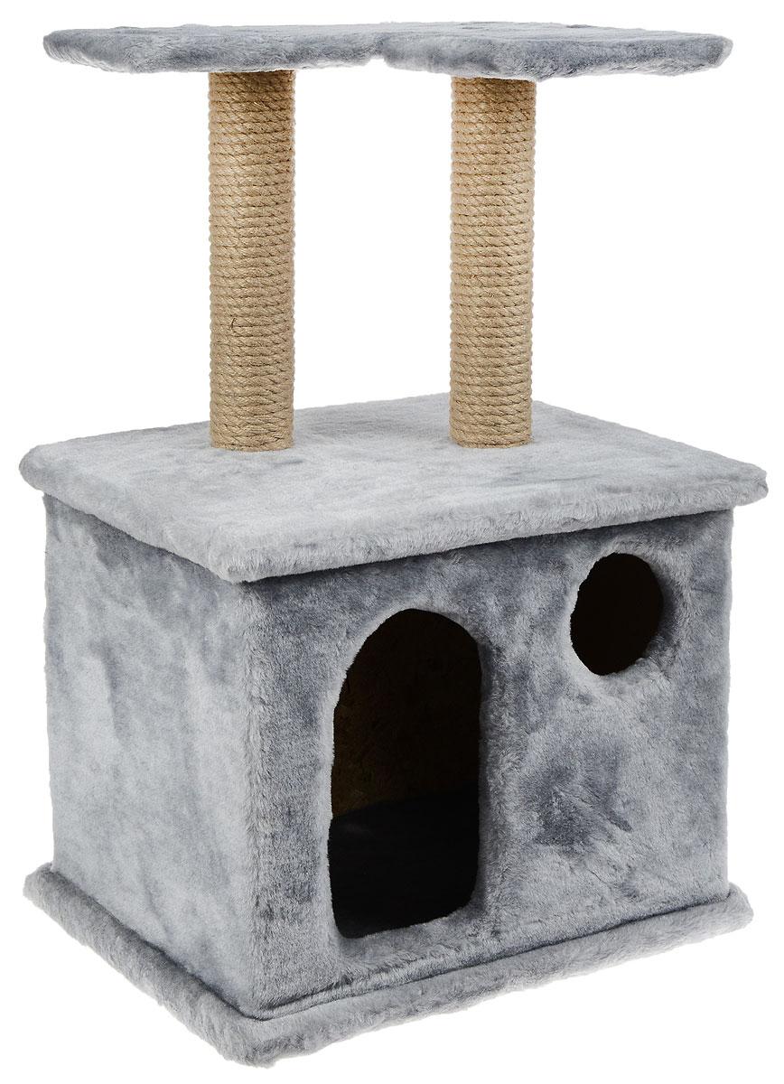 Игровой комплекс для кошек Меридиан, с фигурной полкой и домиком, цвет: светло-серый, бежевый, 45 х 36 х 69 смД124 ССИгровой комплекс для кошек Меридиан выполнен из высококачественного ДВП и ДСП и обтянут искусственным мехом. Изделие предназначено для кошек. Ваш домашний питомец будет с удовольствием точить когти о специальный столбик, изготовленный из джута. А отдохнуть он сможет либо на полке, находящейся наверху столбика, либо в расположенном внизу домике. Общий размер: 45 х 36 х 69 см. Размер полки: 40 х 31 см. Размер домика: 45 х 36 х 37 см.