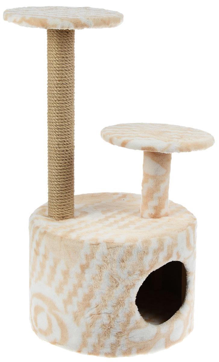 Игровой комплекс для кошек Меридиан, с когтеточкой и двумя полками, цвет: белый, бежевый, 42 х 42 х 80 смД514 ЦвИгровой комплекс для кошек Меридиан выполнен из высококачественного ДВП и ДСП и обтянут искусственным мехом. Изделие предназначено для кошек. Ваш домашний питомец будет с удовольствием точить когти о специальный столбик, изготовленный из джута. А отдохнуть он сможет либо на полках разной высоты, либо в расположенном внизу домике. Общий размер: 42 х 42 х 80 см. Размер домика: 40 х 40 х 28 см. Высота полок: 51 см, 24 см. Диаметр полок: 27 см.
