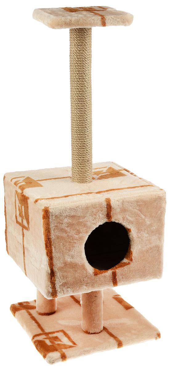 Игровой комплекс для кошек Меридиан, на подставке, с домиком и когтеточкой, цвет: коричневый, бежевый, 39 х 39 х 102 смД112 ГИгровой комплекс для кошек на подставке Меридиан выполнен из высококачественного ДВП и ДСП и обтянут искусственным мехом. Изделие предназначено для кошек. Ваш домашний питомец будет с удовольствием точить когти о специальный столбик, изготовленный из джута. А отдохнуть он сможет либо на полке, находящейся наверху столбика, либо в расположенном на столбиках домике. Общий размер: 39 х 39 х 102 см. Размер домика: 39 х 39 х 28 см. Размер полки: 23 х 23 см.