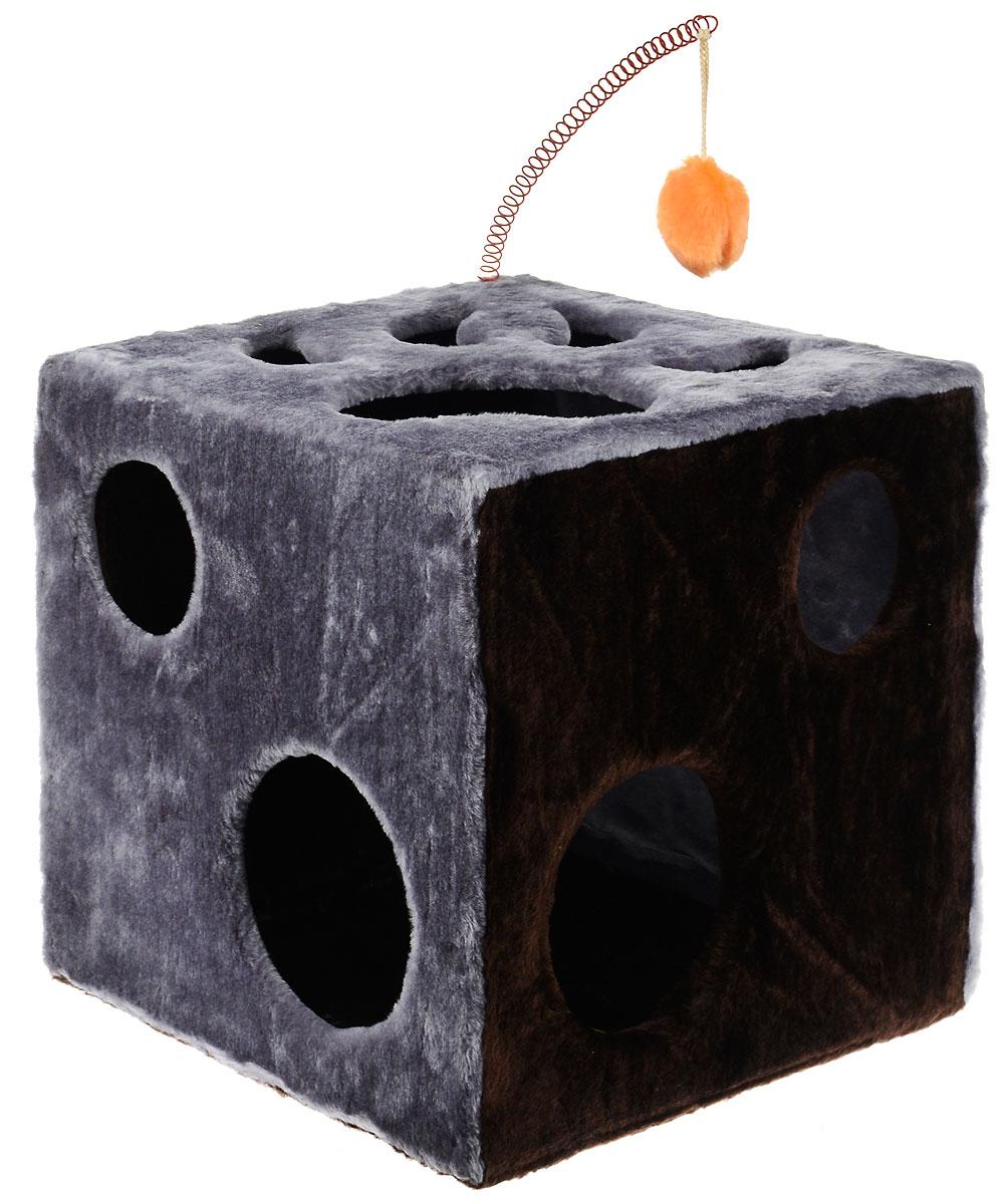 Домик для кошек ЗооМарк Кубик с лапкой, с игрушкой, цвет: серый, темно-коричневый, 42 х 42 х 42 см104_серыйДомик ЗооМарк Кубик с лапкой непременно станет любимым местом отдыха вашего домашнего животного. Он изготовлен из высококачественного дерева и обтянут искусственным мехом. Домик оформлен крупными отверстиями в виде лапы животного и кружков. Оригинальный домик для животных - отличное место, чтобы спрятаться. Также там можно хранить свои охотничьи трофеи. Сверху расположена игрушка на пружине.