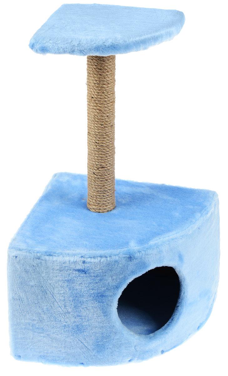 Домик-когтеточка ЗооМарк, угловой, с полкой, цвет: голубой, бежевый, 37 х 37 х 68 см111_голубойУгловой домик-когтеточка ЗооМарк выполнен из высококачественного дерева и искусственного меха. Изделие предназначено для кошек. Ваш домашний питомец будет с удовольствием точить когти о специальный столбик, изготовленный из джута. А отдохнуть он сможет либо на площадке, находящейся наверху столбика, либо в расположенном внизу домике. Общий размер: 37 х 37 х 68 см. Размер домика: 37 х 37 х 26 см. Размер полки: 25 х 25 см.