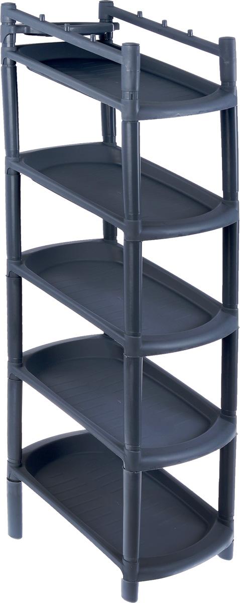 Этажерка для обуви «BranQ», узкая, 5 полок, цвет: темно-серый, 42 х 25,2 х 101,5 см  тумбочка прикроватная ширина 20 см