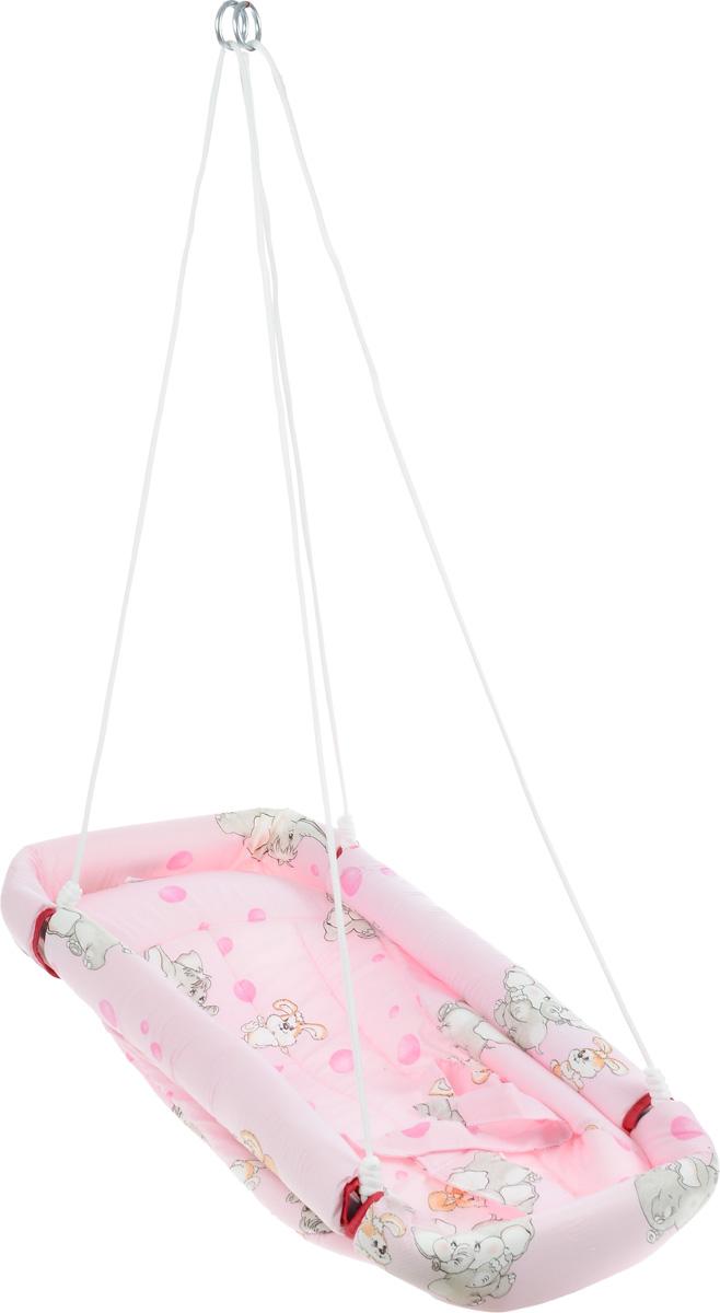 Фея Качели-гамак Комфорт цвет розовый4258Качели-гамак Фея Комфорт - это небольшое уютное местечко для малыша. Аналог люльки, применявшейся в деревнях. Гамак выполнен из 100% хлопчатобумажной ткани. Имеет мягкое сиденье и оснащен ремнями безопасности. Бортики гамака защищены мягким наполнителем. Гамак подвешивается с помощью небольших тросов на металлические кольца. Его можно легко сложить, при хранении не занимает много места.