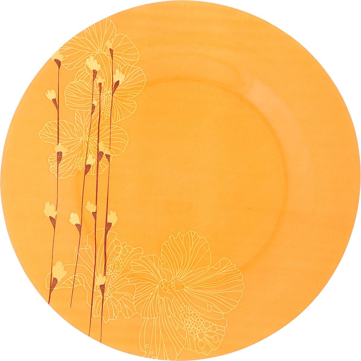 Тарелка обеденная Luminarc Rhapsody Orange, цвет: оранжевый, диаметр 25 смH7307_оранжевыйОбеденная тарелка Luminarc Rhapsody Orange, изготовленная из ударопрочного стекла, имеет изысканный внешний вид. Яркий дизайн придется по вкусу и ценителям классики, и тем, кто предпочитает утонченность. Тарелка Luminarc Rhapsody Orange идеально подойдет для сервировки вторых блюд из птицы, рыбы, мяса или овощей, а также станет отличным подарком к любому празднику. Диаметр тарелки (по верхнему краю): 25 см.