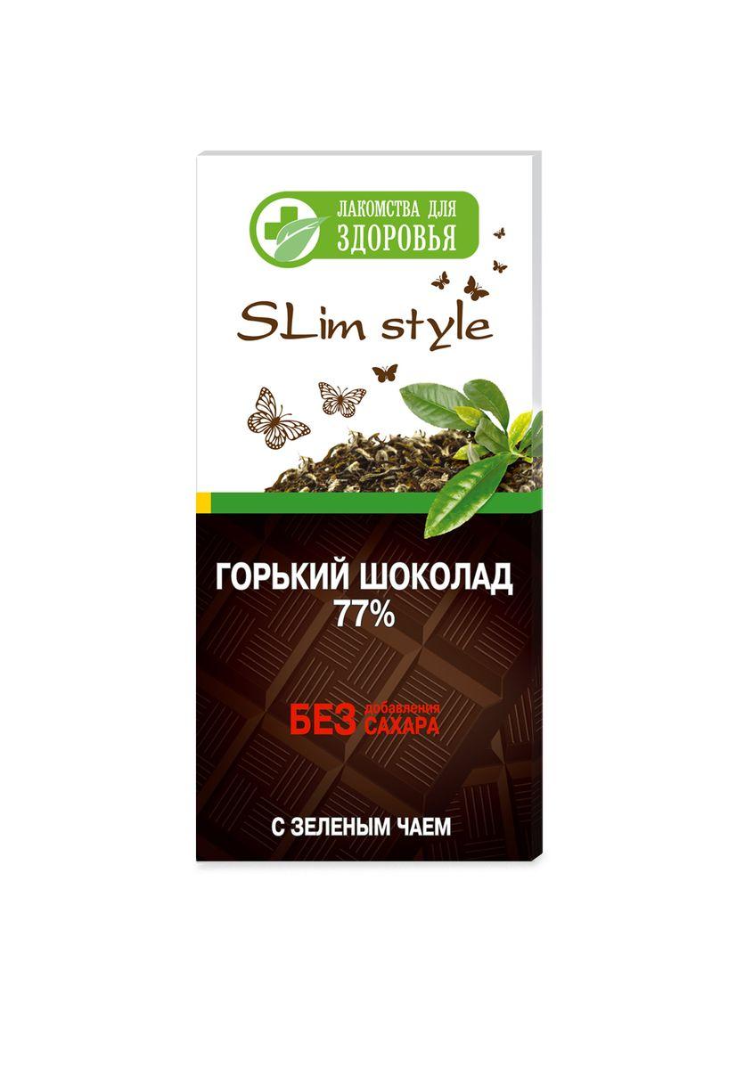 Лакомства для здоровья Шоколад горький формованный с зеленым чаем, 60 г