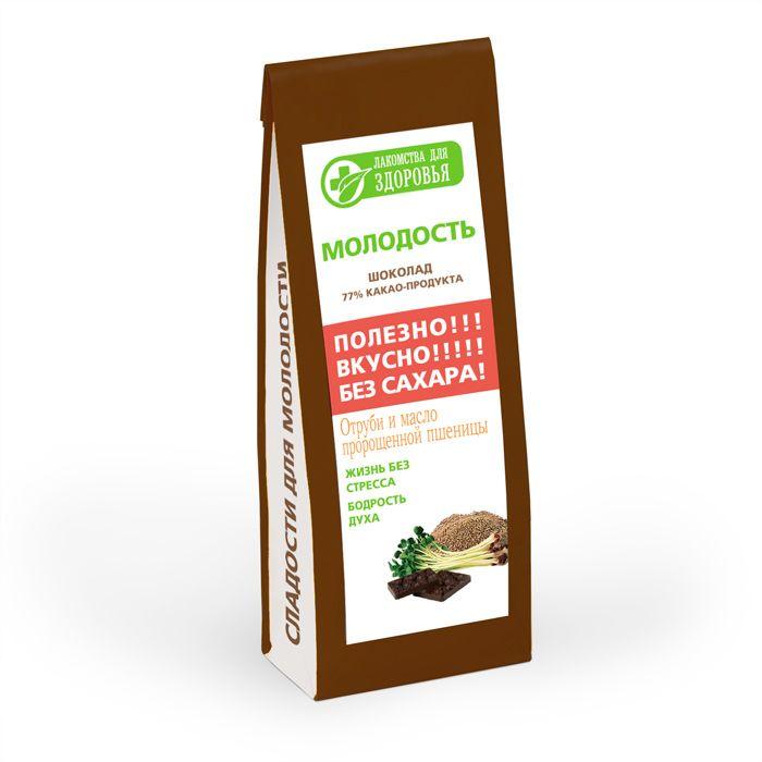 Лакомства для здоровья Молодость шоколад горький с отрубями и маслом зародышей пшеницы, 100 г