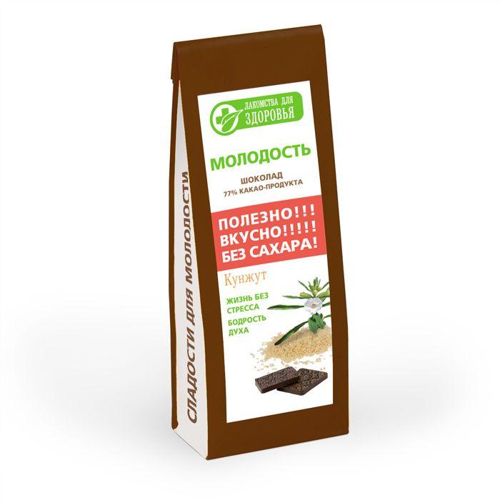 Лакомства для здоровья Шоколад горький с семенами кунжута, 100 г