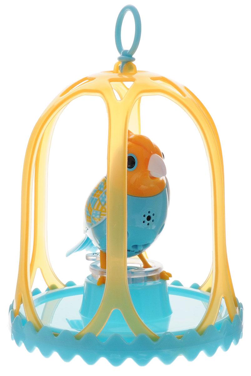 DigiBirds Интерактивная игрушка Птичка Carousal в клетке цвет бирюзовый желтый88295S_бирюзовый, желтыйПтичка DigiBirds Carousal - это забавная интерактивная игрушка, которая займет малыша на длительное время. Эта игрушка умеет выполнять разные действия: щебетать, петь песенки, при этом двигая головой и клювом. Если подуть на грудку птички, она начнет щебетать. Если подуть в свисток, птичка станет исполнять известную песенку. Игрушка воспроизводит свыше 55 музыкальных свистов. 2 режима работы игрушки: соло и хор. При переключении в режим хора, можно последовательно подсоединять птичек к главной, в результате они будут вместе исполнять песенки вслед за главной птичкой, и щебетать друг с другом. Птичка сидит в изящной клетке. Несколько клеток можно подвесить одну над другой. В комплекте с птичкой также идет свисток с удобным держателем для пальцев. Игрушка развивает музыкальный слух, любовь к музыке и животным. Для работы игрушки необходимы 3 батарейки напряжением 1,5V типа AG13/LR44 (товар комплектуется демонстрационными).