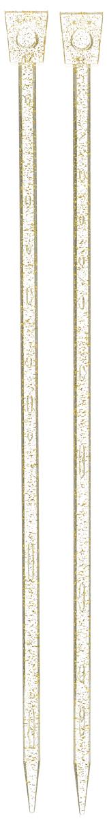 Спицы Addi, пластиковые, прямые, цвет: шампань, диаметр 8 мм, длина 35 см, 2 шт400-7/8-35Спицы для вязания Addi, изготовленные из высококачественного пластика с золотыми вкраплениями, обладают прекрасными тактильными качествами. Они прочные, легкие и удобные в использовании. На кончиках в качестве стопперов есть пластиковые прямоугольники с нанесенным на них размером изделия. Прямые спицы используются при плоском вязании отдельных деталей, которые впоследствии будут сшиты в цельное изделие. Вы сможете вязать для себя и делать подарки друзьям. Рукоделие всегда считалось изысканным, благородным делом. Работа, сделанная своими руками, долго будет радовать вас и ваших близких.