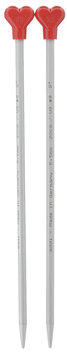 Спицы Addi, металлические, прямые, диаметр 5,5 мм, длина 20 см, 2 шт200-7/5.5-20Спицы для вязания Addi, изготовленные из алюминия, обладают прекрасными тактильными качествами и благородным серебристо-матовым цветом. На кончиках в качестве стопперов есть фирменный логотип Addi в виде сердечка, что придает изделию уникальный вид. Прямые спицы используются при плоском вязании отдельных деталей, которые впоследствии будут сшиты в цельное изделие. Вы сможете вязать для себя и делать подарки друзьям. Рукоделие всегда считалось изысканным, благородным делом. Работа, сделанная своими руками, долго будет радовать вас и ваших близких.