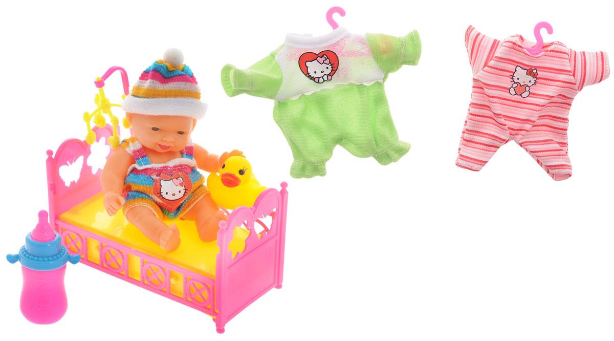 Карапуз Игровой набор Пупс в шапке Нello Кitty цвет одежды зеленый розовый
