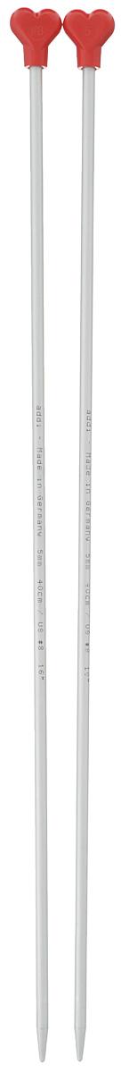Спицы Addi, металлические, прямые, диаметр 5 мм, длина 40 см, 2 шт200-7/5-40Спицы для вязания Addi, изготовленные из алюминия, обладают прекрасными тактильными качествами и благородным серебристо-матовым цветом. На кончиках в качестве стопперов есть фирменный логотип Addi в виде сердечка, что придает изделию уникальный вид. Прямые спицы используются при плоском вязании отдельных деталей, которые впоследствии будут сшиты в цельное изделие. Вы сможете вязать для себя и делать подарки друзьям. Рукоделие всегда считалось изысканным, благородным делом. Работа, сделанная своими руками, долго будет радовать вас и ваших близких.