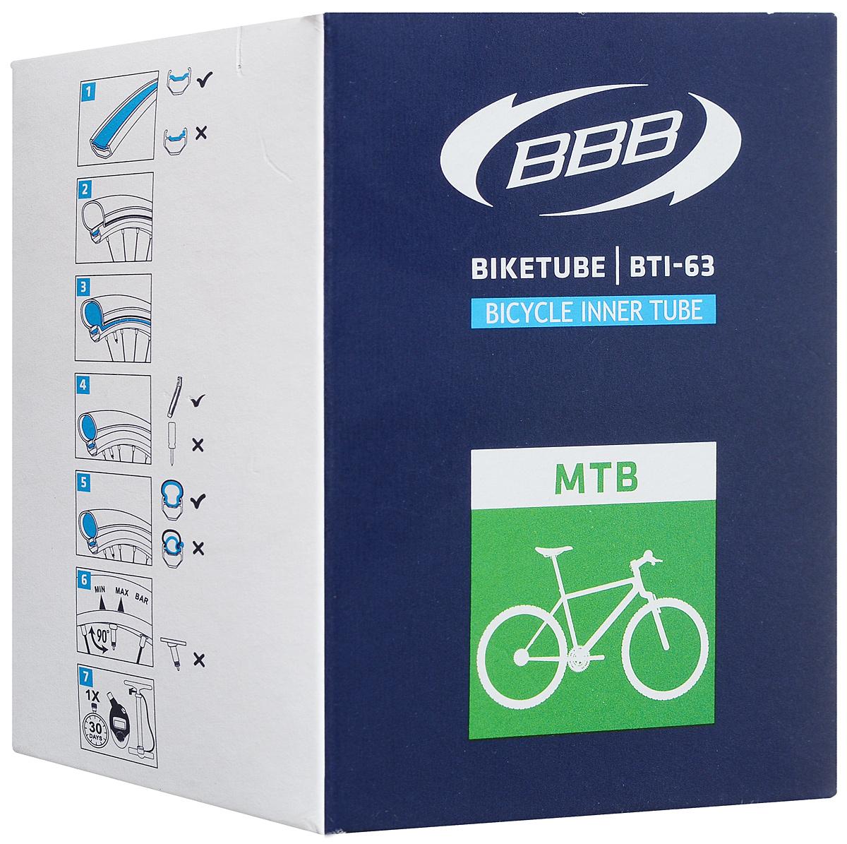 Велокамера BBB 26 in 1,9/2,125 AV. BTI-63BTI-63Размер колеса: 26 Автомобильный ниппель (Schrader) 33 мм Камеры BBB изготовлены из долговечного резинового компаунда. Никаких швов, которые могут пропускать воздух. Толщина стенки: 0.87 мм. Достаточно большая для защиты от проколов и достаточно небольшая для снижения веса.