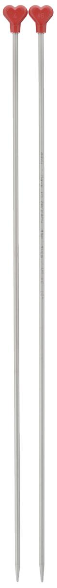 Спицы Addi, металлические, прямые, диаметр 4 мм, длина 40 см, 2 шт200-7/4-40Спицы для вязания Addi, изготовленные из алюминия, обладают прекрасными тактильными качествами и благородным серебристо-матовым цветом. На кончиках в качестве стопперов есть фирменный логотип Addi в виде сердечка, что придает изделию уникальный вид. Прямые спицы используются при плоском вязании отдельных деталей, которые впоследствии будут сшиты в цельное изделие. Вы сможете вязать для себя и делать подарки друзьям. Рукоделие всегда считалось изысканным, благородным делом. Работа, сделанная своими руками, долго будет радовать вас и ваших близких.