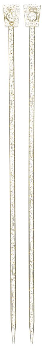 Спицы Addi, пластиковые, прямые, цвет: шампань, диаметр 6 мм, длина 35 см, 2 шт400-7/6-35Спицы для вязания Addi, изготовленные из высококачественного пластика с золотыми вкраплениями, обладают прекрасными тактильными качествами. Они прочные, легкие и удобные в использовании. На кончиках в качестве стопперов есть пластиковые прямоугольники с нанесенным на них размером изделия. Прямые спицы используются при плоском вязании отдельных деталей, которые впоследствии будут сшиты в цельное изделие. Вы сможете вязать для себя и делать подарки друзьям. Рукоделие всегда считалось изысканным, благородным делом. Работа, сделанная своими руками, долго будет радовать вас и ваших близких.