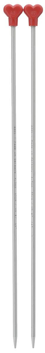 Спицы Addi, металлические, прямые, диаметр 4,5 мм, длина 35 см, 2 шт200-7/4.5-35Спицы для вязания Addi, изготовленные из алюминия, обладают прекрасными тактильными качествами и благородным серебристо-матовым цветом. На кончиках в качестве стопперов есть фирменный логотип Addi в виде сердечка, что придает изделию уникальный вид. Прямые спицы используются при плоском вязании отдельных деталей, которые впоследствии будут сшиты в цельное изделие. Вы сможете вязать для себя и делать подарки друзьям. Рукоделие всегда считалось изысканным, благородным делом. Работа, сделанная своими руками, долго будет радовать вас и ваших близких.