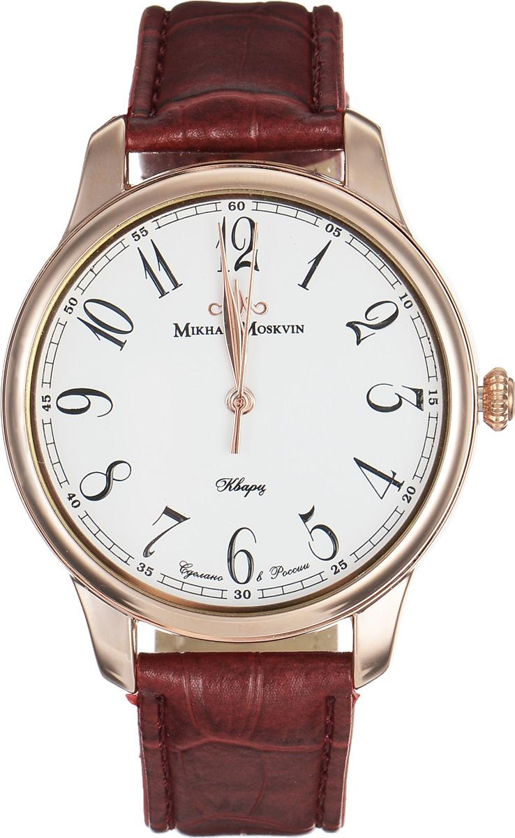 Часы наручные мужские Mikhail Moskvin, цвет: темно-красный, золотистый. 1200A3L2