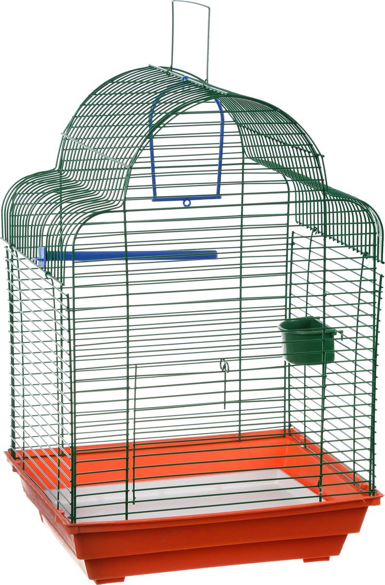 """Клетка для птиц ЗооМарк """"Купола"""", цвет: красный поддон, зеленая решетка, 35 х 29 х 51 см"""