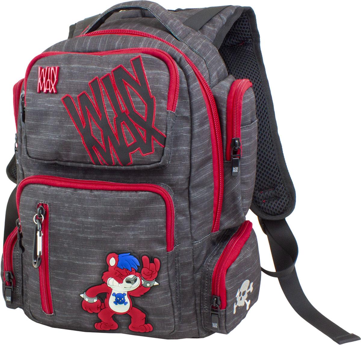 WinMax Рюкзак детский цвет черный красный K-544K-544_чер/краснРюкзак WinMax, украшенный оригинальной вышивкой и стильной объемной аппликацией. Эта модель не только красива и оригинальна, но и очень практична и удобна. Благодаря качественному, легкому и прочному материалу, рюкзак долговечен в носке, а множество отделений поможет разместить все необходимые вещи школьника. Если вы ищите, что-то совершенно необычное по стилю, оригинальное и качественное, советуем обратить внимание на него. Рюкзак имеет одно вместительно отделение на молнии. Внутри имеется мягкое отделение на липучке для планшета или ноутбука и открытый накладной карман-сетка. Отделение дополнено нашивкой, в которую можно занести личные данные владельца. На лицевой стороне рюкзака расположились врезной два накладных кармана на молниях. Верхний карман содержит два открытых накладных кармашка. Внутри нижнего кармана имеются два открытых накладных кармана, кармашек-сетка на молнии и три открытых кармашка под канцелярские принадлежности. По бокам рюкзака...