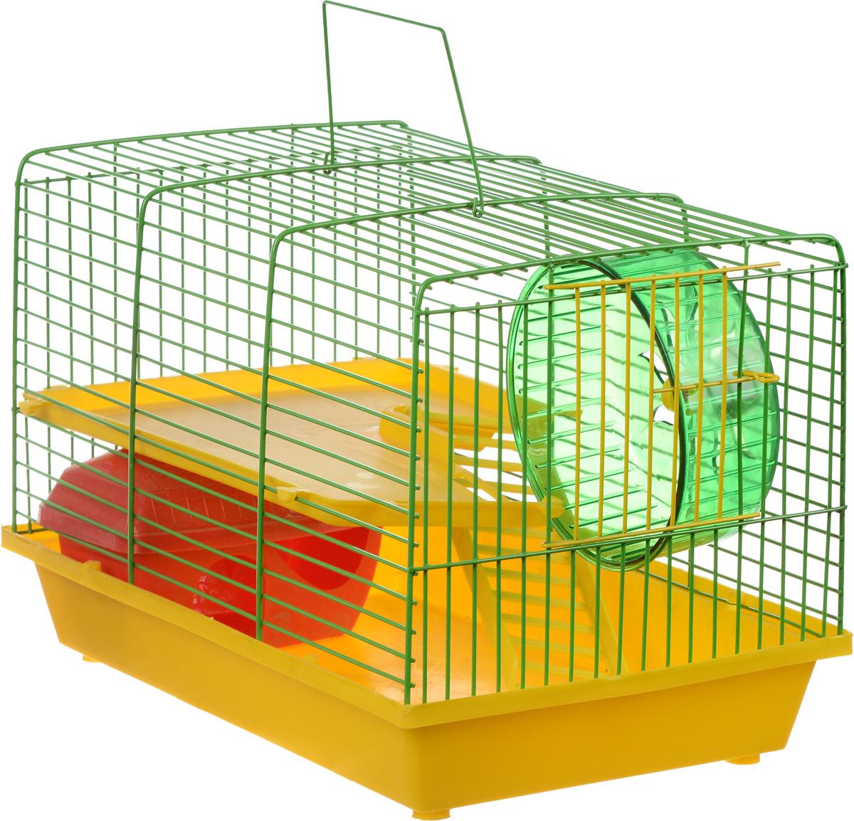 Клетка для грызунов ЗооМарк, 2-этажная, цвет: желтый поддон, зеленая решетка, желтый этаж, 36 х 23 х 24 см125_желтый, зеленыйКлетка ЗооМарк, выполненная из полипропилена и металла, подходит для мелких грызунов. Изделие двухэтажное, оборудовано колесом для подвижных игр и пластиковым домиком. Клетка имеет яркий поддон, удобна в использовании и легко чистится. Сверху имеется ручка для переноски. Такая клетка станет уединенным личным пространством и уютным домиком для маленького грызуна.